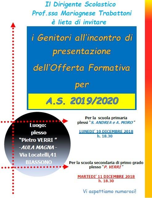 locandina presentazione piano offerta formativa 2018.19